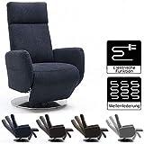 Cavadore TV-Sessel Cobra mit 2 E-Motoren und Aufstehhilfe / Elektrisch verstellbarer Fernsehsessel mit Fernbedienung / Relaxfunktion, Liegefunktion / bis 130 kg / M: 71 x 110 x 82 / grau