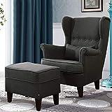 Lifelook Leinenstoff Ohrensessel mit Hocker Kaminsessel Lounge Seseel Sofa Gelegentlicher Stuhl mit für Wohnzimmer Schlafzimmer (Dunkelgrün)