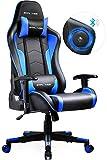 GTPLAYER Gaming Stuhl mit Lautsprecher Bürostuhl Schreibtischstuhl Musik Audio Gamer Stuhl Drehstuhl Ergonomisches Design PC Stuhl Multi-Funktion E-Sports Chefsessel schwarz-blau gtracing Series