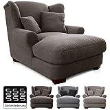 CAVADORE XXL-Sessel Oasis / Großer Polstersessel im modernen Design / Inkl. 2 schöne Zierkissen / 120 x 99 x 145 / Webstoff in schlamm