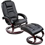 tectake 403849 Fernsehsessel mit Hocker, verstellbare Rückenlehne, 360° drehbarer Relaxsessel, Holzfüße, TV Sessel aus Kunstleder inkl. Liegefunktion, schwarz