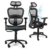 Komene Bürostuhl Ergonomisch mit Atmungsaktiver Netzrückseite, 360° Drehbarer Bürostuhl mit Verstellbarer Kopfstütze, Rückenlehne und 3D-Armlehnen, Schwarz