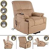 MACOShopde by MACO Möbel TV-Sessel FRANK mit elektrischer Aufstehhilfe, Schlafsessel mit Liege- und Relaxfunktion aus Velours Mikrofaser in Hellbraun/Beige mit 2 kraftvollen Motoren und Fernbedienung